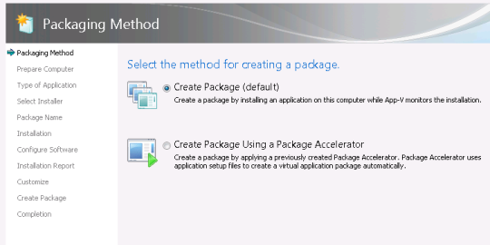 Selecting package creation method