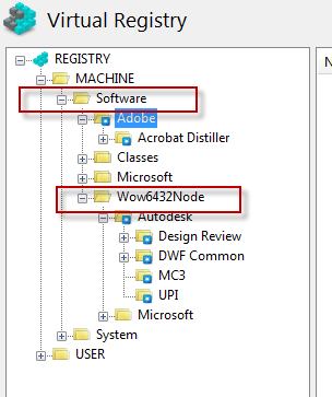 Virtual registry in 64-bit originated package