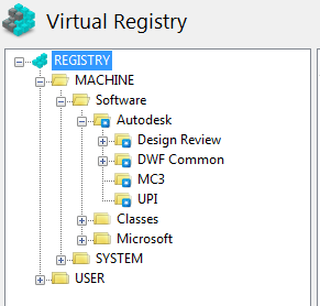 Virtual registry in 32-bit originated package