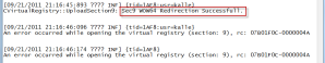 WOW64 redirection message in client's log