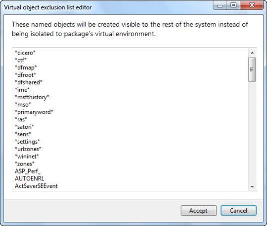 Default exclusions stored in the package