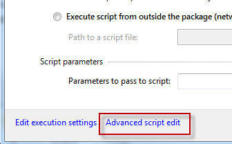 Accessing advanced script editing screen