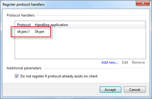 Skype protocol handler detected automatically