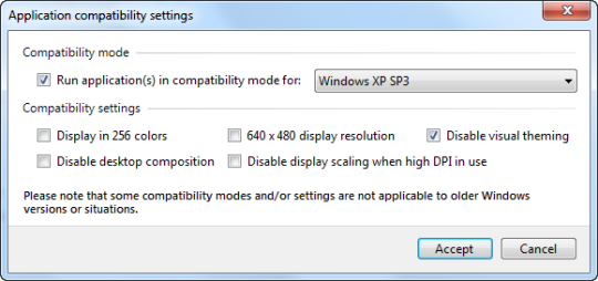 Compatibility mode settings