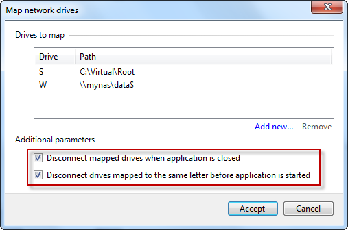 Drive mappings defined