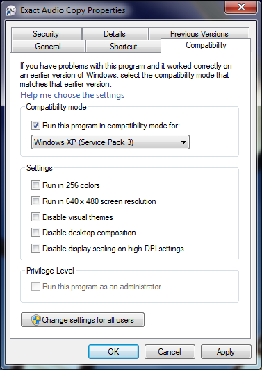 Compatibility settings tab with Windows XP lie set