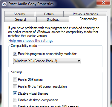 How to set Windows compatibility settings for App-V package