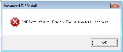 INF install error