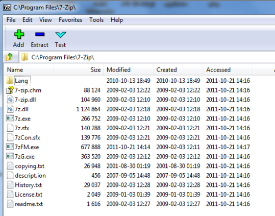 7-Zip directory as seen by 7-Zip