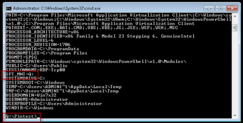 Command prompt inside the VE