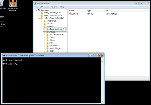 Registry editor inside the VE