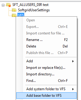 Adding base folder to VFS using AVE
