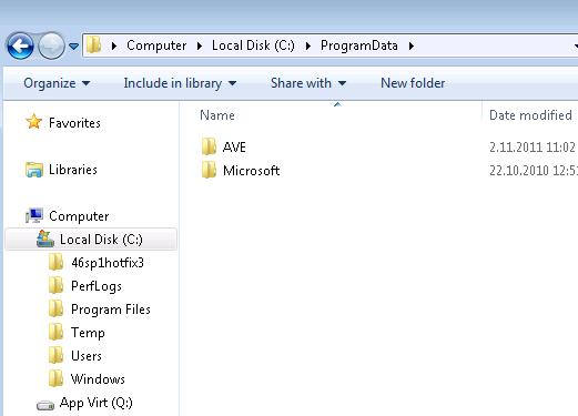No virtual files in C:\ProgramData