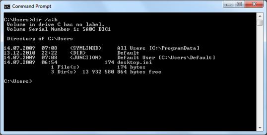 Listing hidden folders in C:\Users
