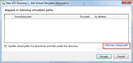 Adding new virtual path for VFS folder using VFS editor in AVE