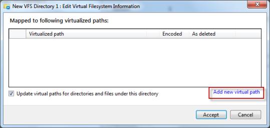 Adding new virtual path for VFS folder using VFS editor in AVE