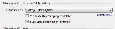 Folder virtualized as using encoded name
