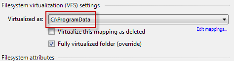 AVE resolving VFS folder to C:\ProgramData