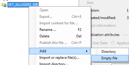 Adding empty file into package