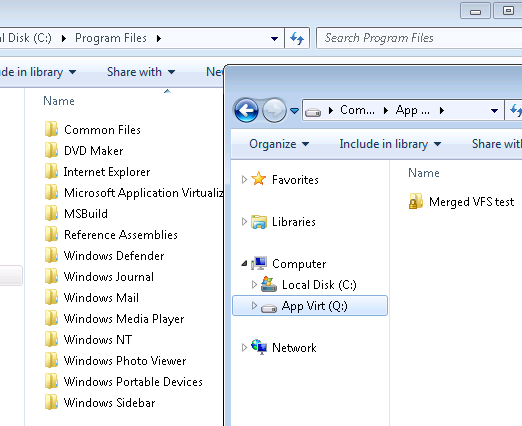 Windows Explorer with access to Q: drive
