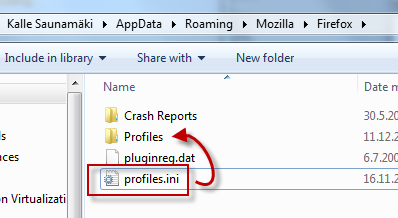 profiles.ini for Firefox package referring to Profiles -folder