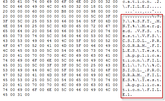 Hex-dump of VFS-mapping