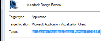 Parameters for the application as created by App-V Client