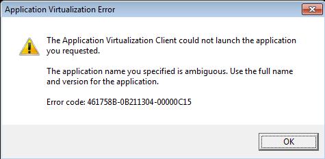 Error message in App-V Client