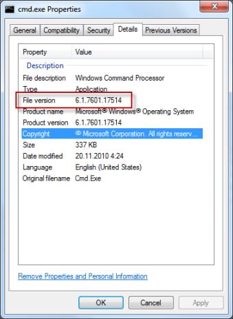 Windows 7 cmd.exe properties