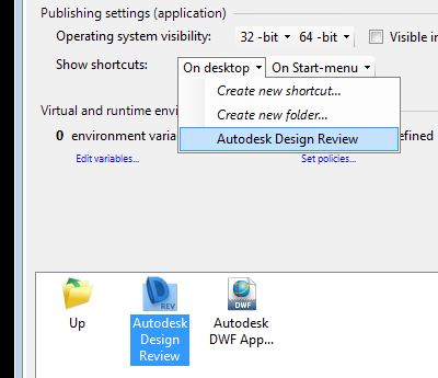 Selecting shortcut in AVE