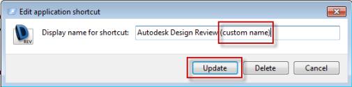 Renaming shortcut display name in AVE
