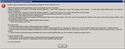 Nasty error message when trying to import branched package