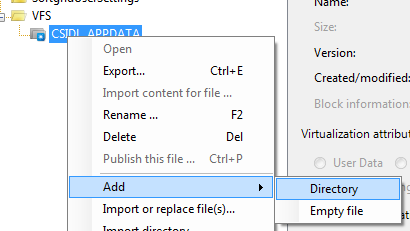 Adding new application specific folder in virtual AppData
