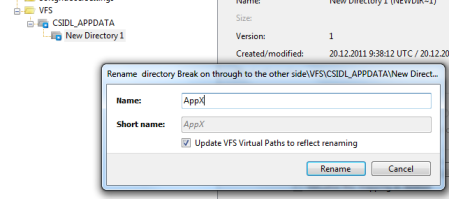 Renaming application specific virtual directory in VFS