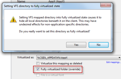 Changing virtualization level of VFS folder to fully virtualized in AVE