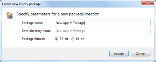 Default new package settings screen in AVE