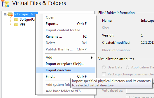 Importing new directory structure to App-V package