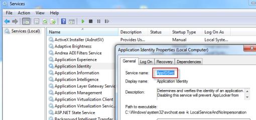 Application Identity service's settings