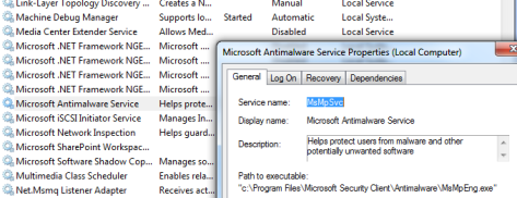 Microsoft Antimalware Service's settings