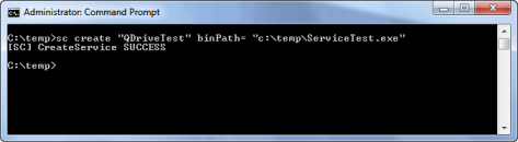 Installing service using sc.exe