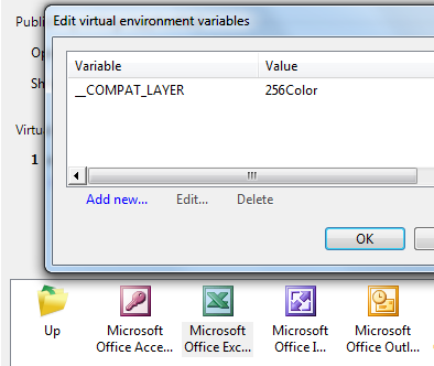 Environment variable for Excel