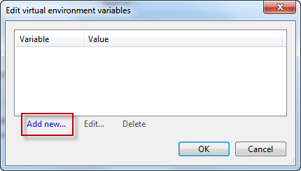 Environment variable editor in AVE