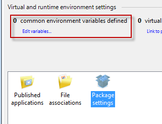 Environment variable settings link at the package level