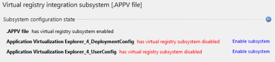 Virtual registry subsystem disabled